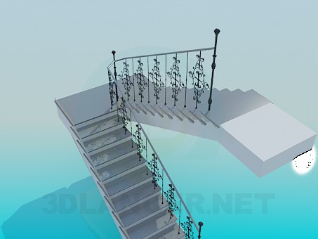 3d model Staircase with banisters - preview