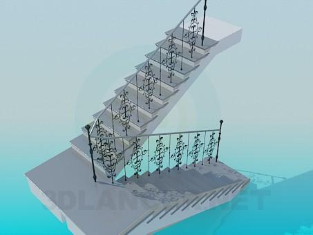 3d модель Лестница с перилами – превью