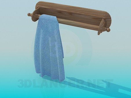 3d model Wooden towel holder - preview