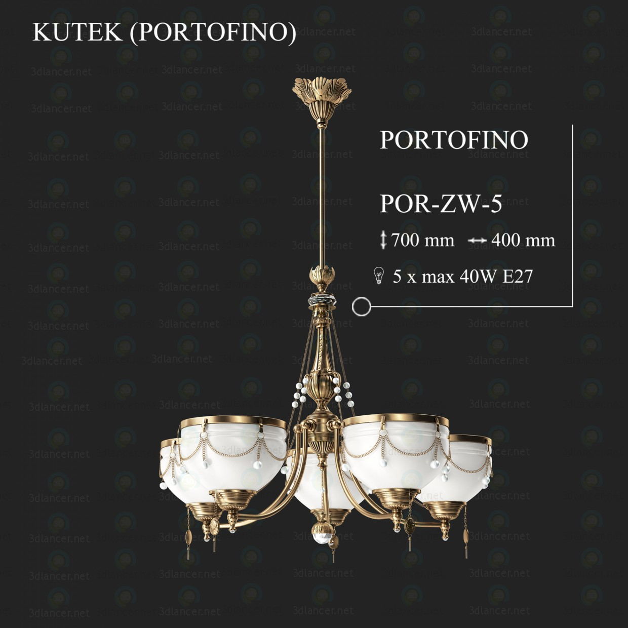 3d modeling Chandelier KUTEK PORTOFINO POR-ZW-5 model free download
