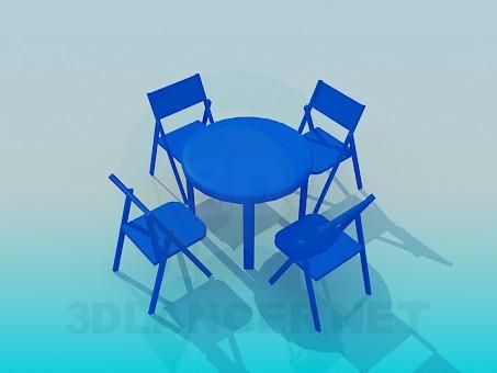 3d моделирование Комплект стол со стульями для летнего кафе модель скачать бесплатно