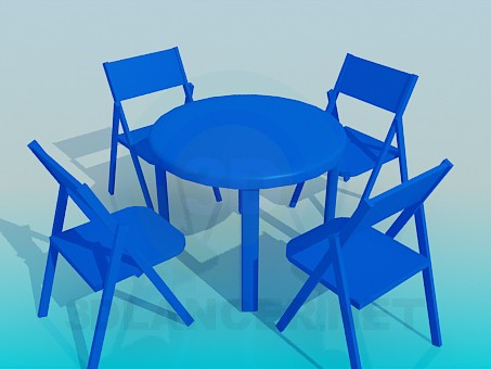 3d модель Комплект стіл зі стільцями для літнього кафе – превью