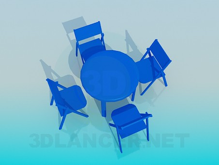3d model Set of table with chairs for summer cafe - preview