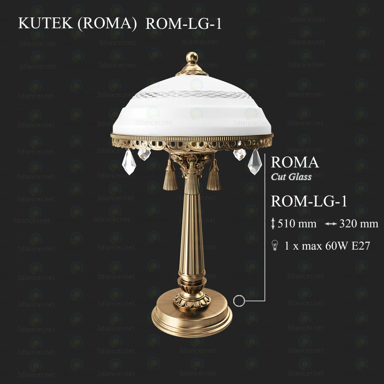 3d modeling Table lamp KUTEK ROMA ROM-LG-1 model free download