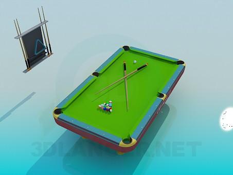 3d model mesa de billar - vista previa