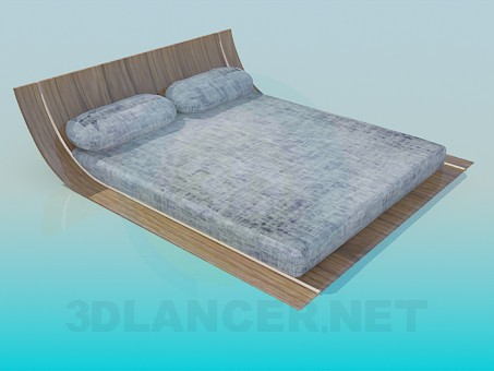 3d modeling Low double bed model free download