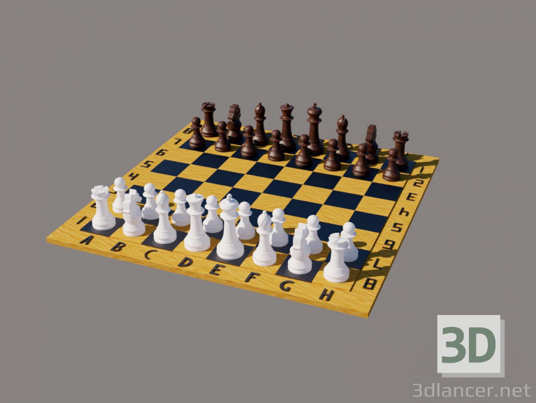 3d Chess board with chess. Chess board with chess. Chess board with chess. model buy - render