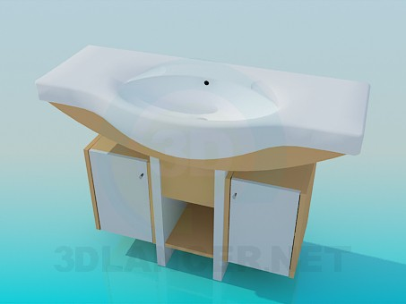 3d modeling Large wash basin with double pedestal model free download