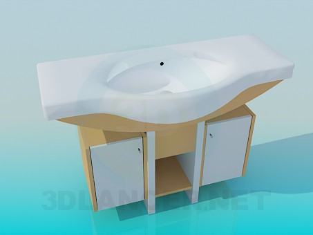 3d model Large wash basin with double pedestal - preview