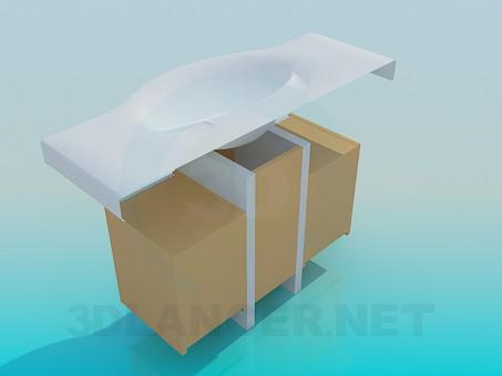 3d модель Большой умывальник с двойной тумбой – превью