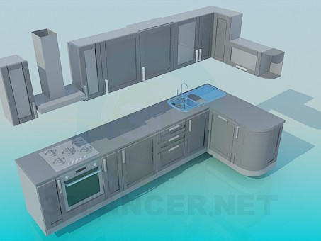 3d model Big kitchen - preview