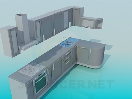 3d model Big kitchen - preview