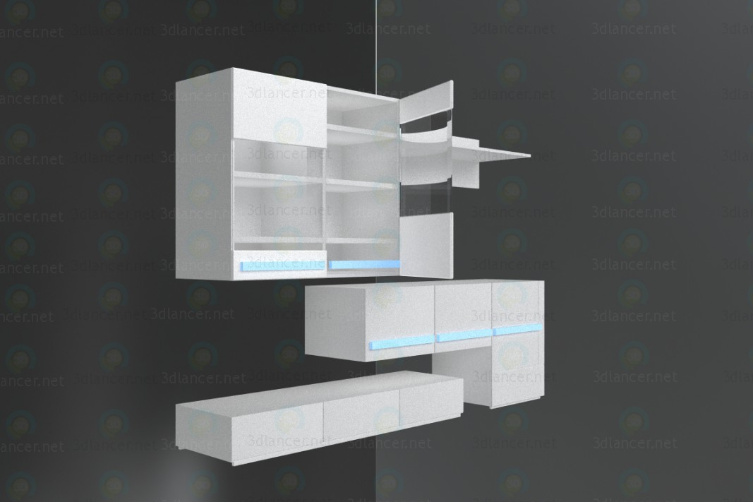 3d модель Комбинированный-шкаф – превью