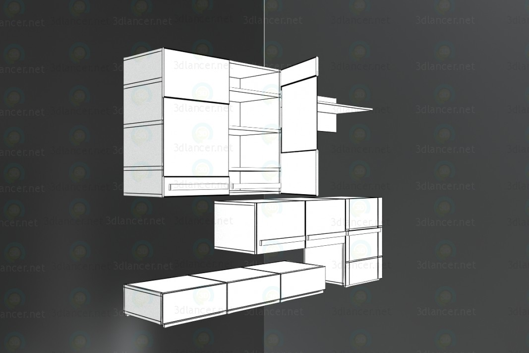3d модель Комбінований-шафа – превью