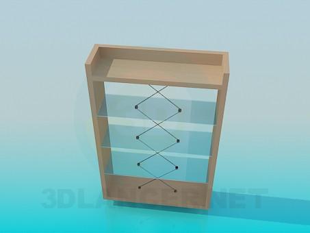 3d моделирование Невысокая деревянная этажерка с о стеклянными полочками модель скачать бесплатно