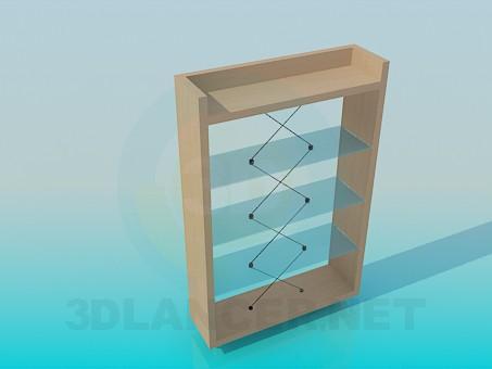3d модель Невысокая деревянная этажерка с о стеклянными полочками – превью