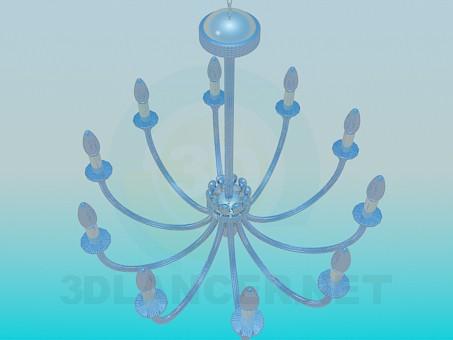 modelo 3D Lámpara Chandelier con candelabros - escuchar