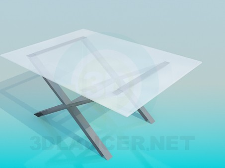 3d модель Столик на перекрещенных ножках – превью