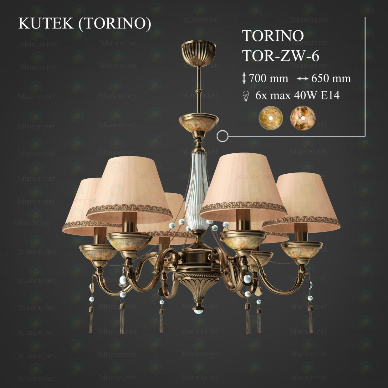 3d model Chandelier KUTEK (TORINO) TOR-ZW-6 in the style of ...