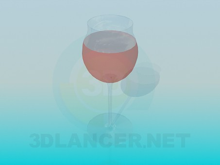 3d model A glass of wine - preview