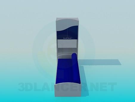 descarga gratuita de 3D modelado modelo Sofá con gabinete