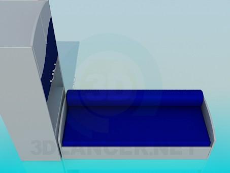 modelo 3D Sofá con gabinete - escuchar
