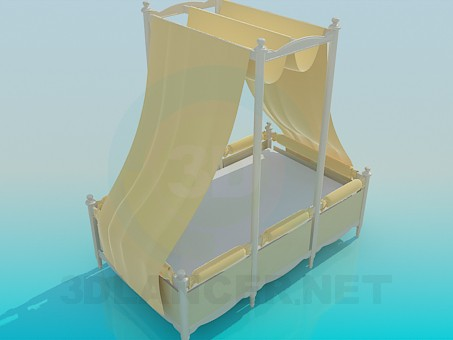 modelo 3D Cama con dosel - escuchar