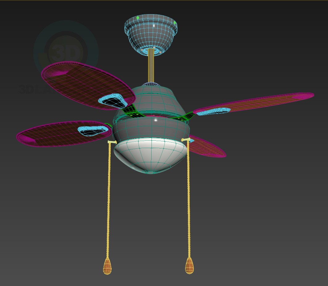 3d model Ceiling fan with light fitting - preview