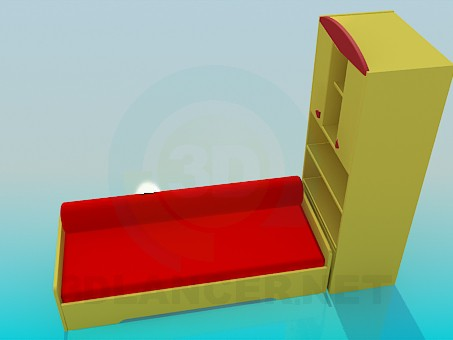 3d modeling Sofa with cabinet model free download