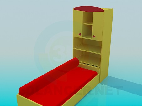3d model Sofa with cabinet - preview