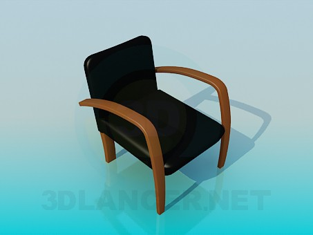 3d model Chair with armrest (natural wood) - preview