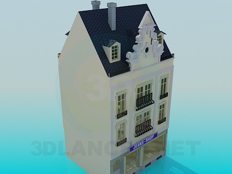 3d model Building with a shop - preview
