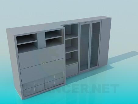 3d модель Шафа-стінка – превью