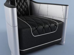 Bentley Grey Club Chair aus Leder und Aluminium Rebder