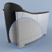 3d Bentley Gray Leather and Aluminum Club Chair Rebder model buy - render