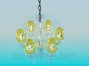 Chandelier with yellow shades