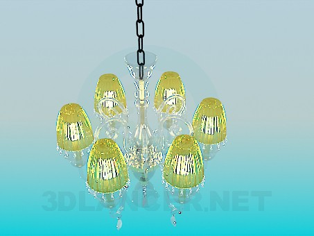 3d model Chandelier with yellow shades - preview