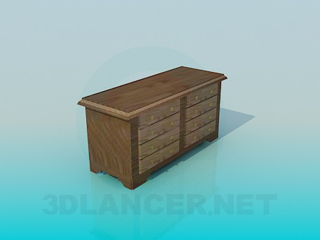 3d model Chest of drawers without handles - preview
