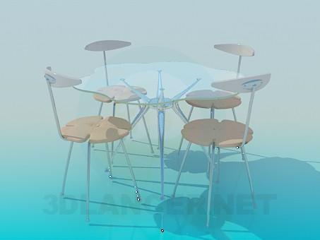 descarga gratuita de 3D modelado modelo Mesa de vidrio con sillas