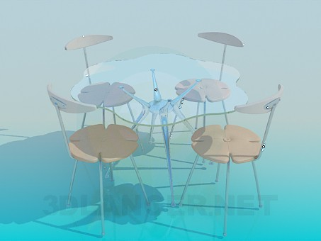 3d model Glass table with chairs - preview