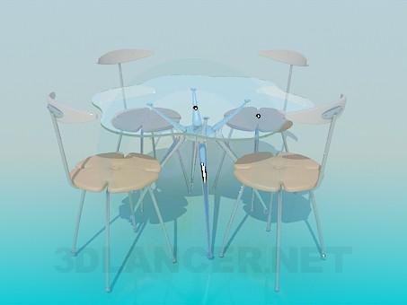 3d модель Стеклянный столик со стульями – превью