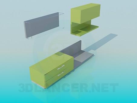 3d модель Комплект: тумба з полицями – превью