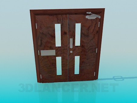 3d model Double doors with limiter - preview