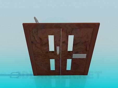 modelo 3D Puertas dobles con limitador - escuchar