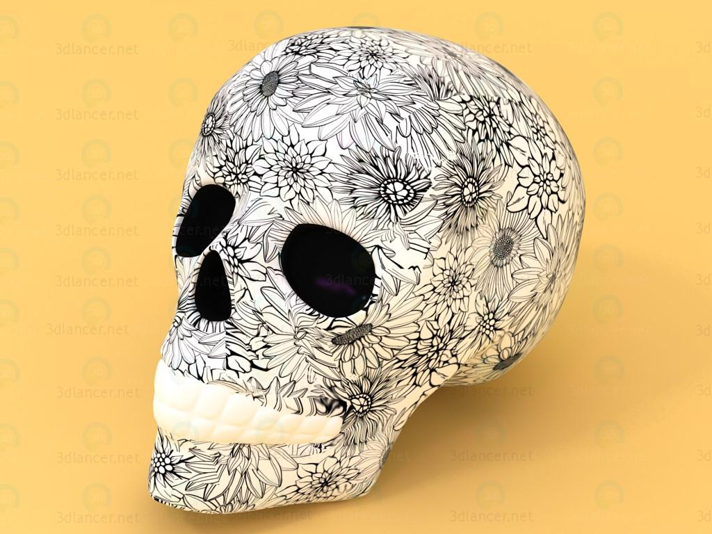 3d Skull gift with floral pattern model buy - render