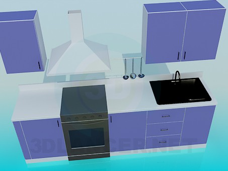 3d modeling Kitchen set model free download