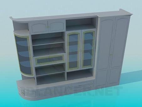 3d моделирование Мебельная стенка модель скачать бесплатно