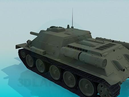 modelo 3D Tanque SU-122 - escuchar