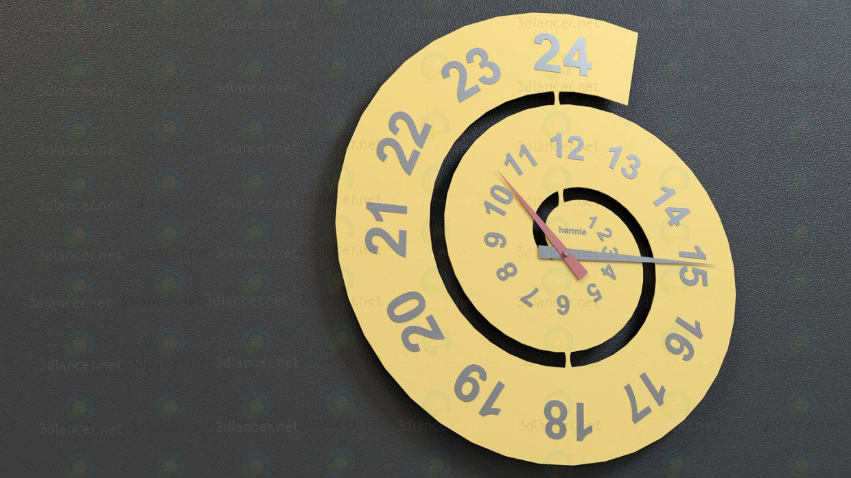 3d model Spiral Wall Clock - preview