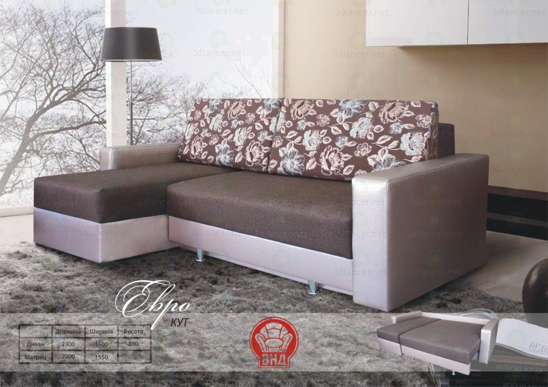 3d model Corner sofa Euro - preview